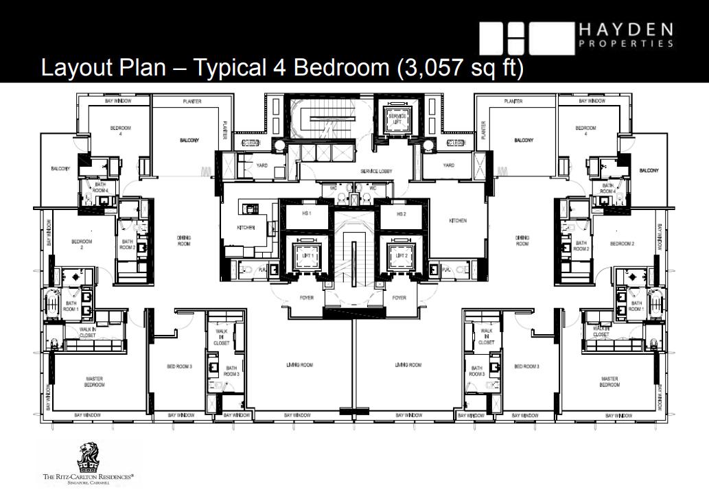 Ritz Carlton 4 Bedroom Floorplan