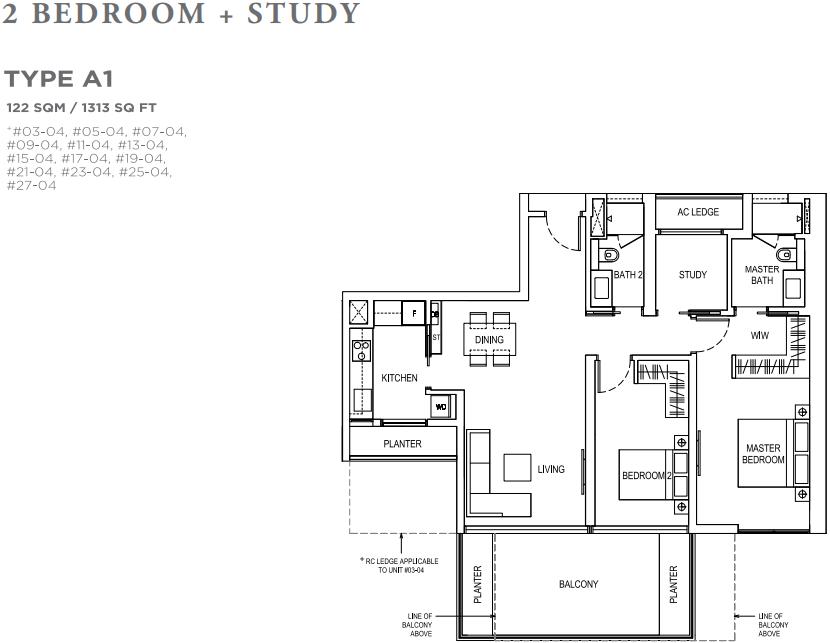 Boulevard 88 2 Bedroom Study Floorplan | SG Luxury Condo