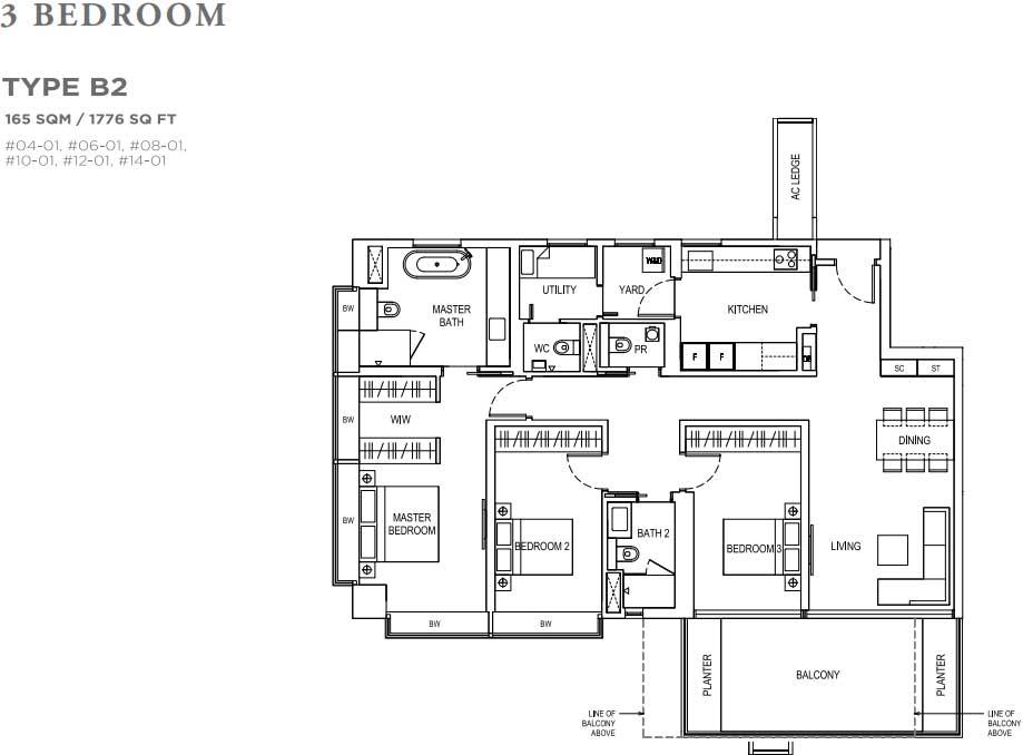 Boulevard 88 3 Bedroom Floorplan | SG Luxury Condo