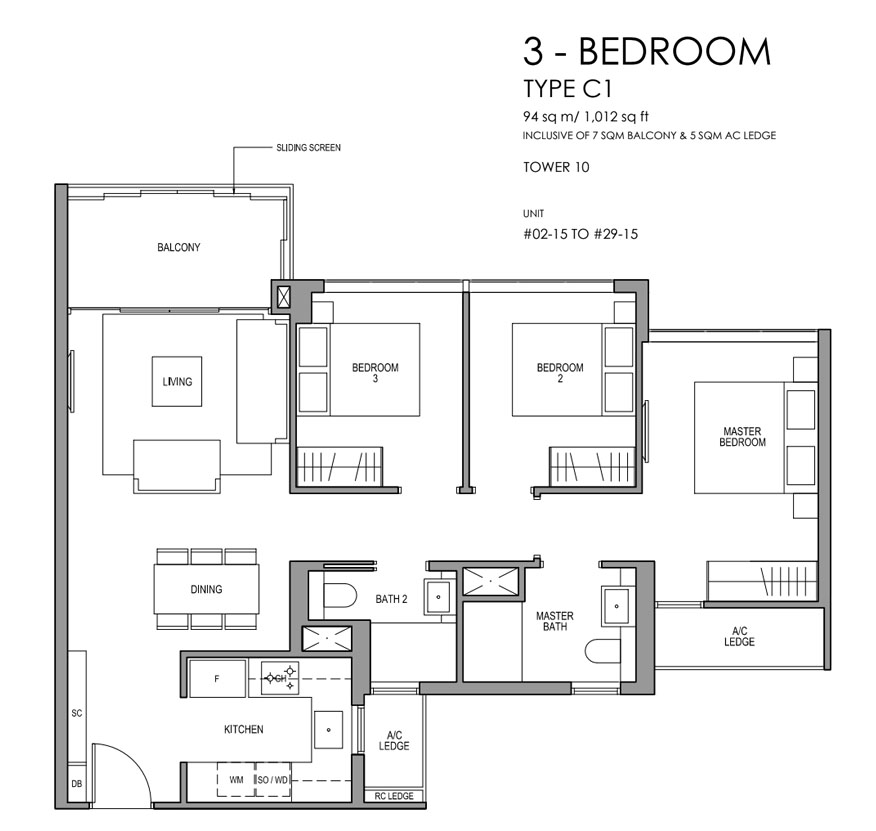 Martin Modern 3 Bedroom Floorplan   Singapore Luxury Condominium for Sale