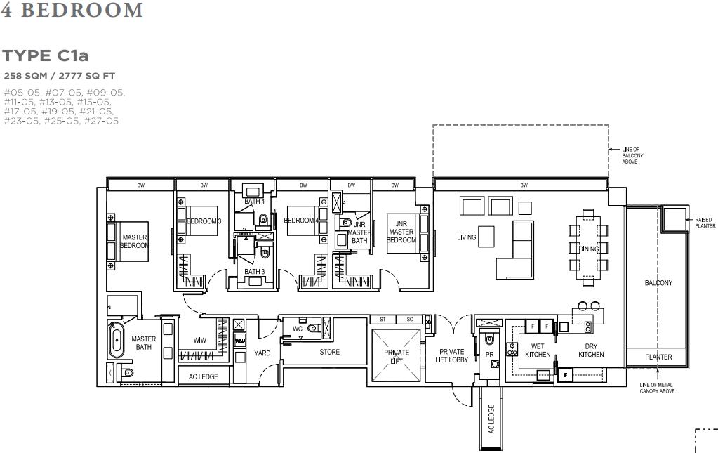 Boulevard 88 4 Bedroom Floorplan | SG Luxury Condo