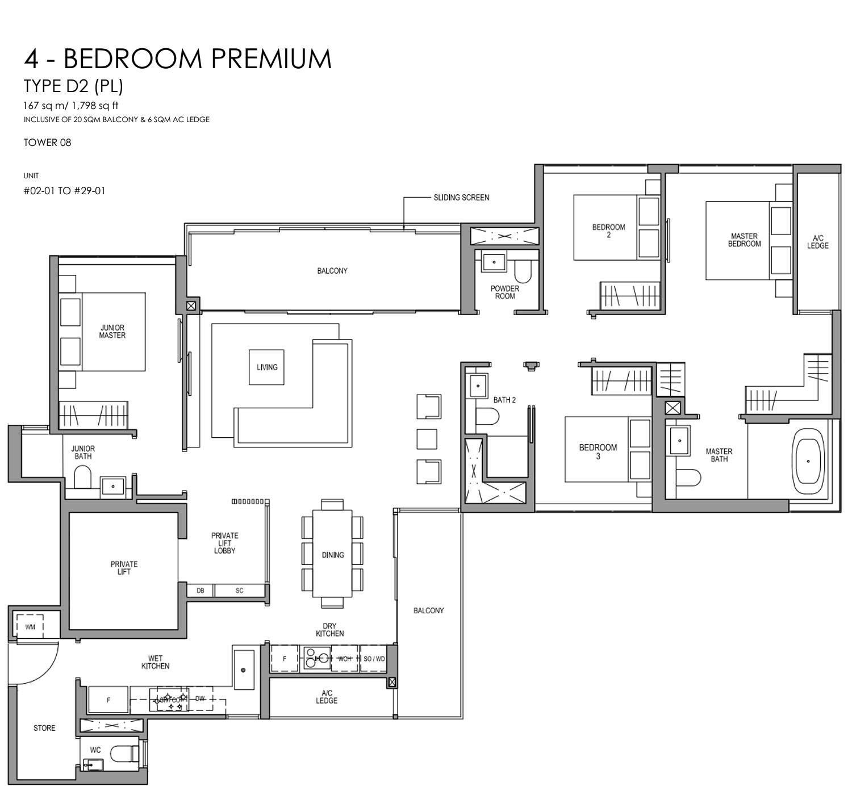 Martin Modern 4 Bedroom Floorplan   Singapore Luxury Condominium for Sale