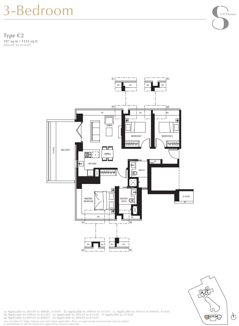 8 St Thomas 3 Bedroom Layout   SG Luxury Condo for Sale