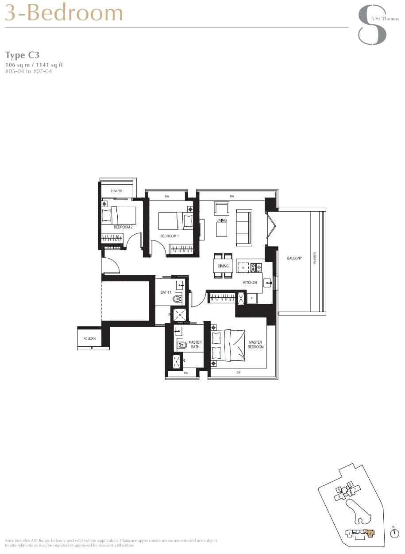 8 St Thomas 3 Bedroom Floorplan   SG Luxury Condo for Sale