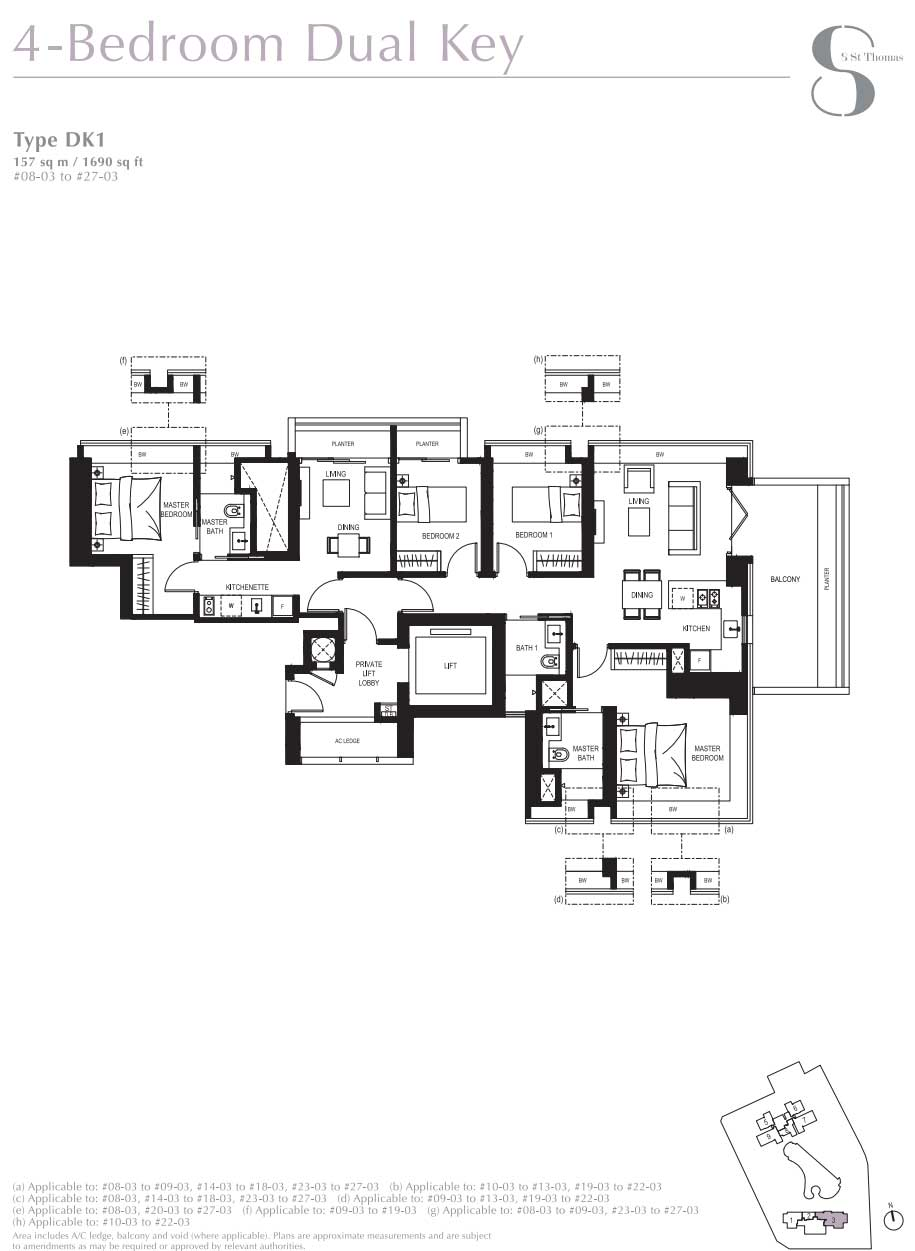 8 St Thomas 4 Bedroom Dual Key layout   SG Luxury Condo for Sale