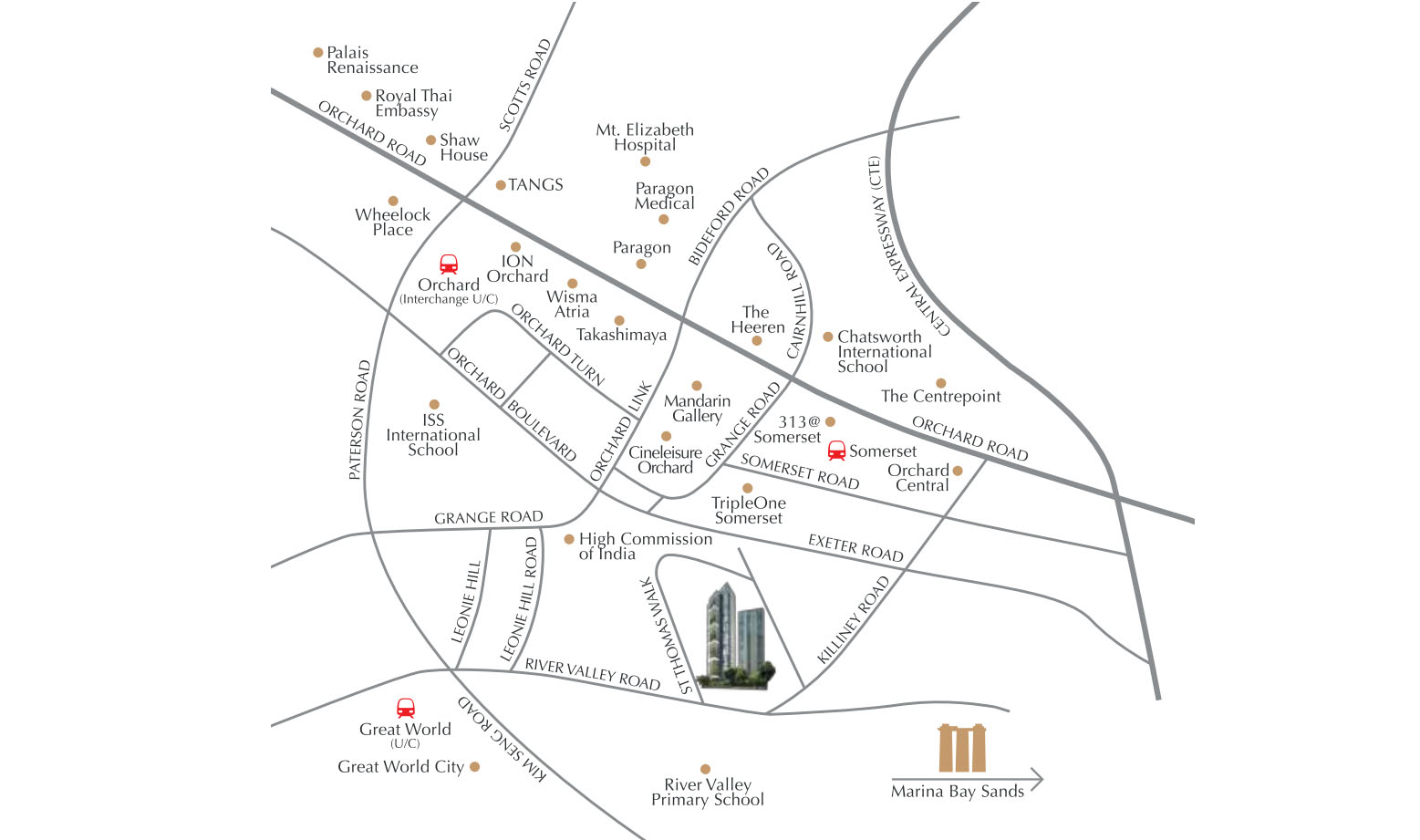 8 St Thomas Location Map   SG Luxury Condo for Sale