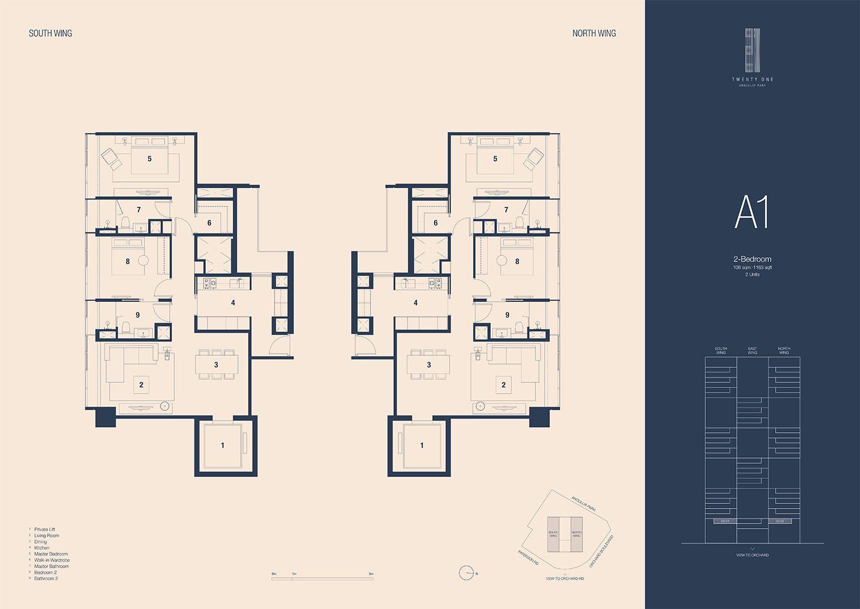 21 Angullia Park 2 Bedroom Floorplan | SG Luxury Condo