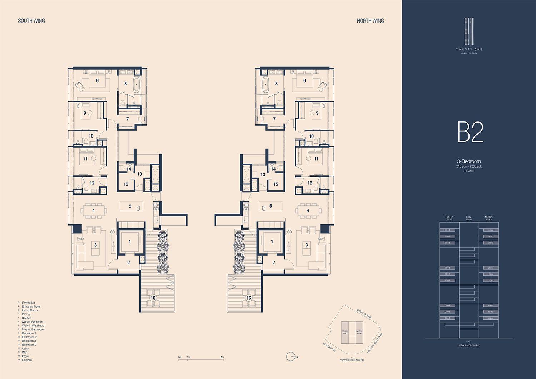 21 Angullia Park 3 Bedroom Floorplan | SG Luxury Condo