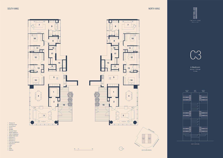 21 Angullia Park 4 Bedroom Floorplan | SG Luxury Condo