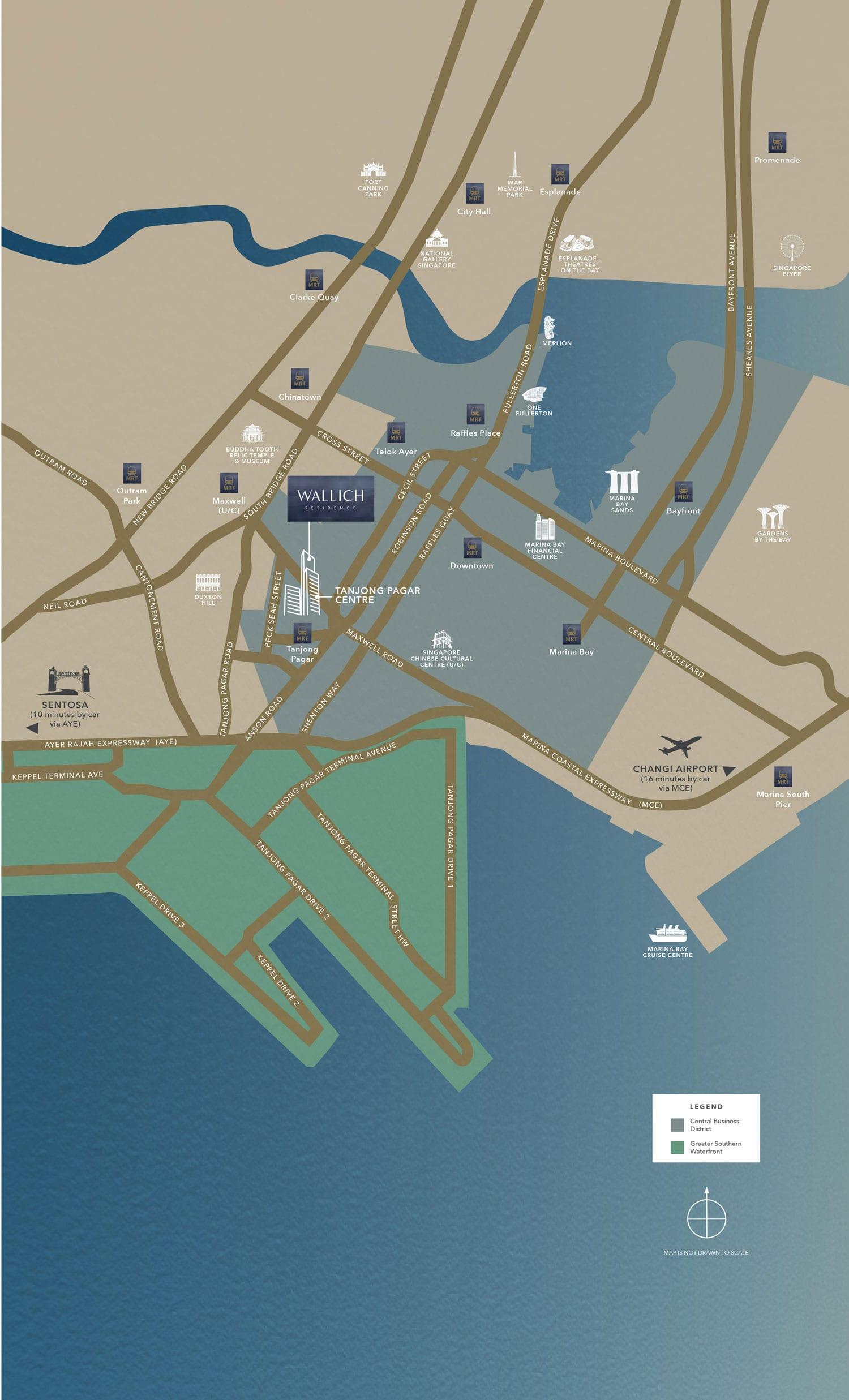 Wallich Residence Location Map | SG Tallest Luxury Condo