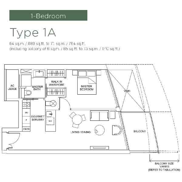 Marina One Residences 1 Bedroom Floorplan | Singapore Luxury Condominium for Sale