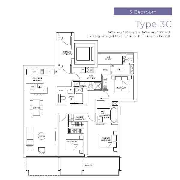 Marina One Residences 3 Bedroom Floorplan | Singapore Luxury Condominium for Sale