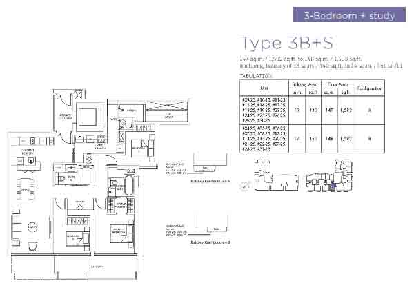 Marina One Residences 3 Bedroom + Study Floorplan | Singapore Luxury Condominium for Sale