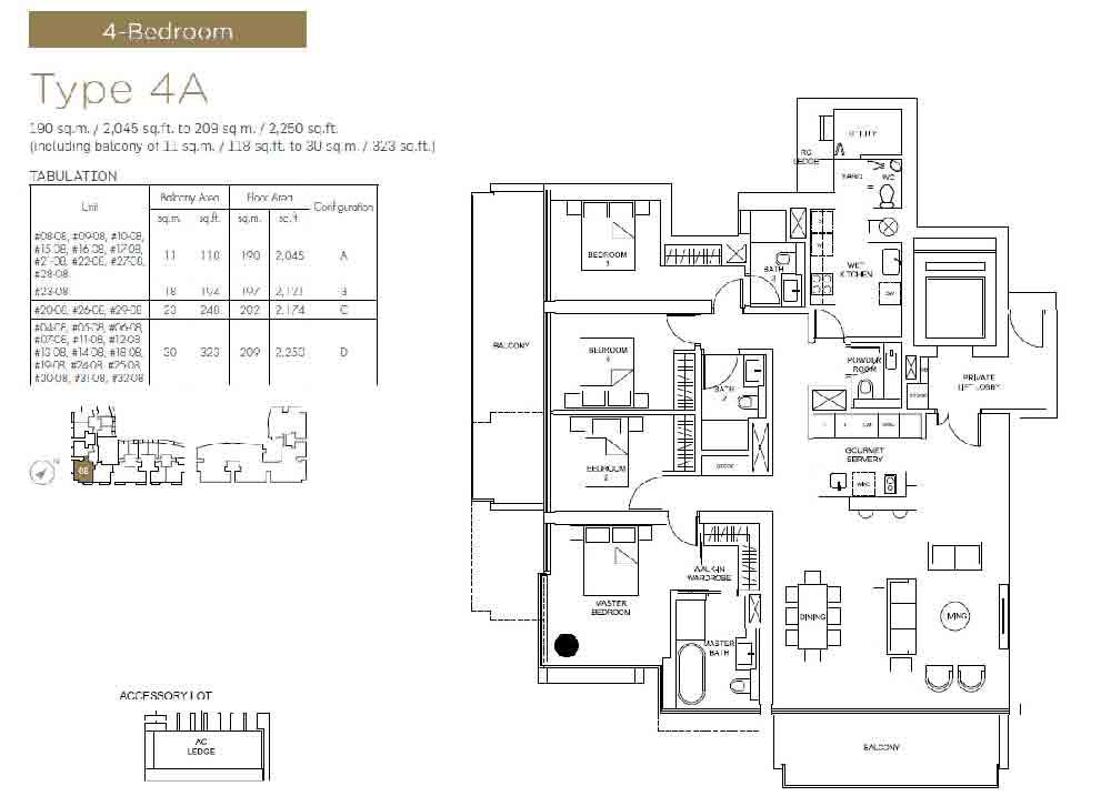Marina One Residences 4 Bedroom Floorplan | Singapore Luxury Condominium for Sale