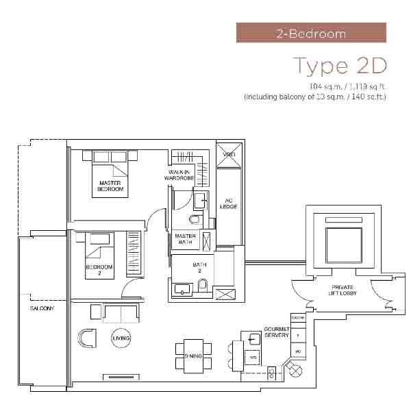Marina One Residences 2 Bedroom Floorplan | Singapore Luxury Condominium for Sale