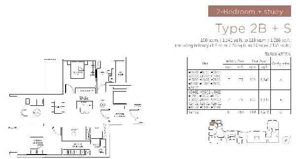 Marina One Residences 2 Bedroom + Study Floorplan | Singapore Luxury Condominium for Sale
