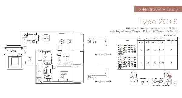 Marina One Residences 2 Bedroom and Study Floorplan | Singapore Luxury Condominium for Sale