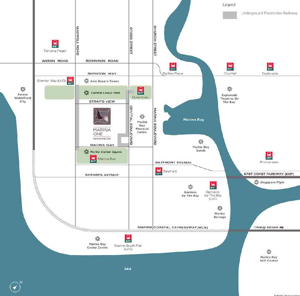 Marina One Residences Location Map | Singapore Luxury Condominium for Sale