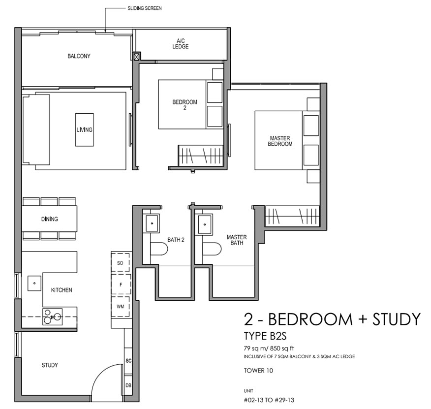 Martin Modern 2 Bedroom Floorplan   Singapore Luxury Condominium for Sale