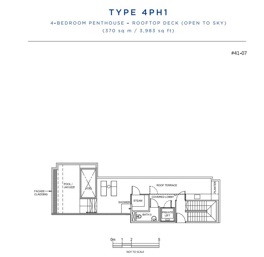 South Beach Residences 4 Bedroom Penthouse Roof Floorplan   Singapore Luxury Condominium for Sale