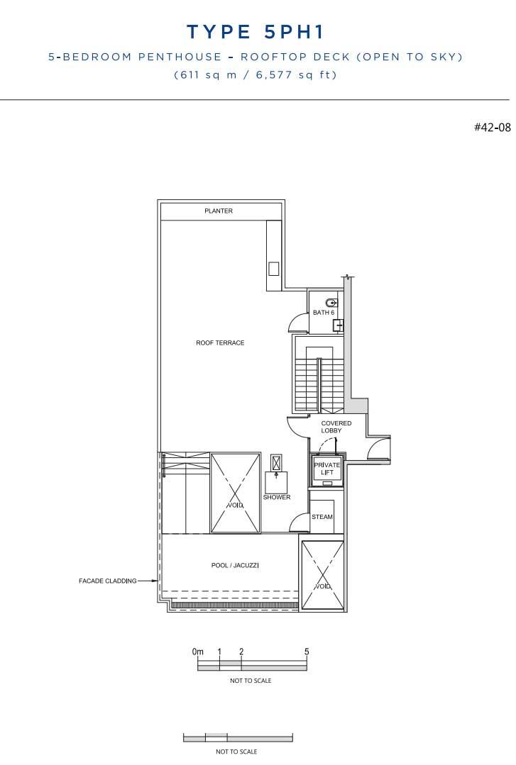 South Beach Residences 5 Bedroom Penthouse Roof Floorplan   Singapore Luxury Condominium for Sale