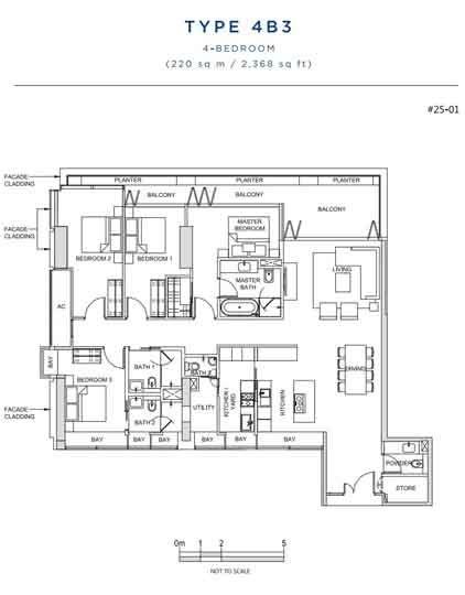 South Beach Residences 3 Bedroom Floorplan   Singapore Luxury Condominium for Sale