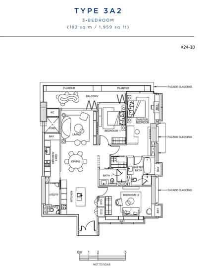 South Beach Residences 3 Bedroom Floor plan   Singapore Luxury Condominium for Sale