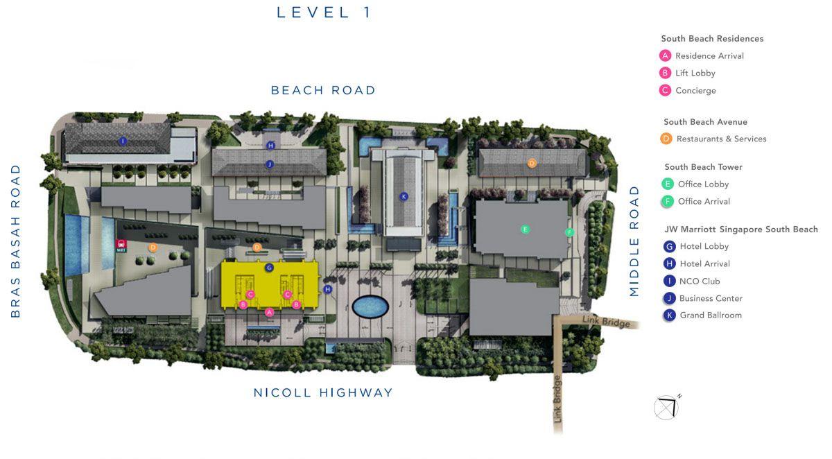 South Beach Residences Siteplan   Singapore Luxury Condominium for Sale