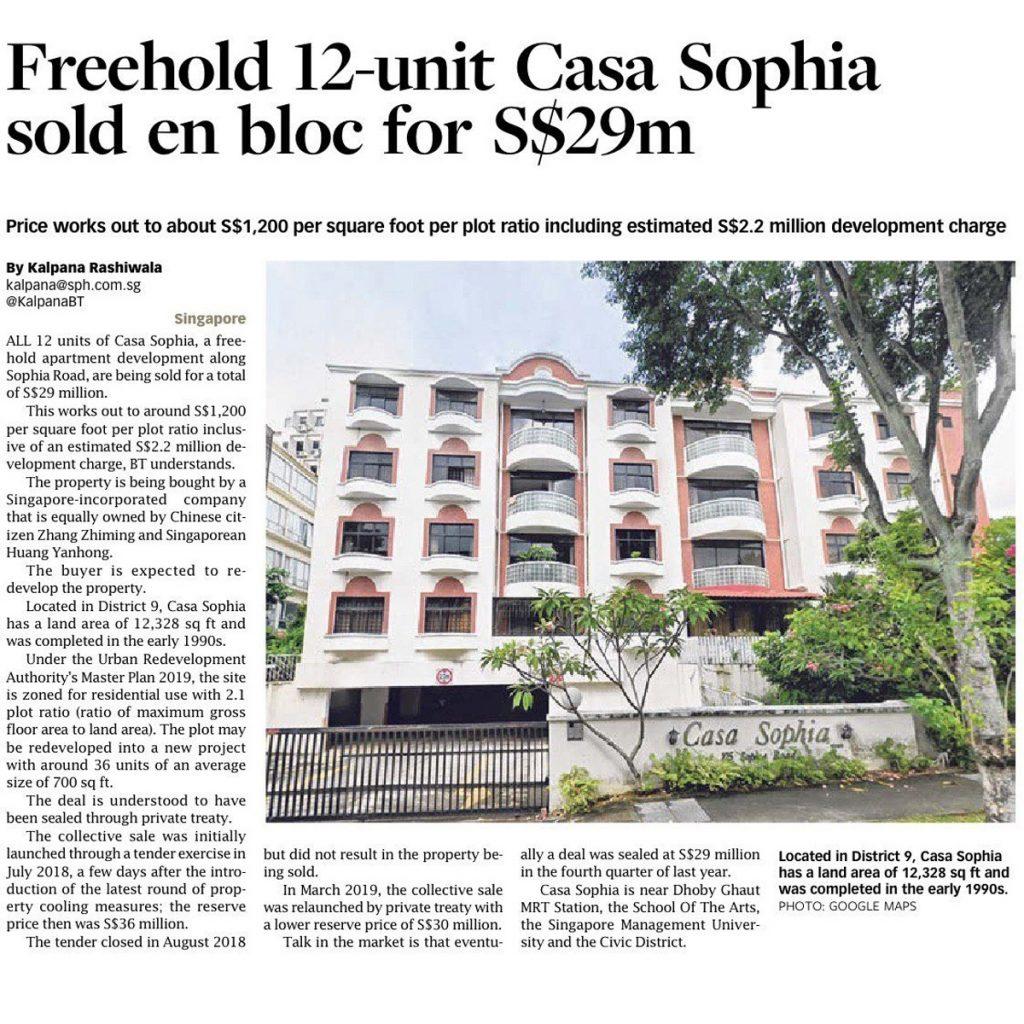 Freehold condominium Casa Sophia sold en bloc
