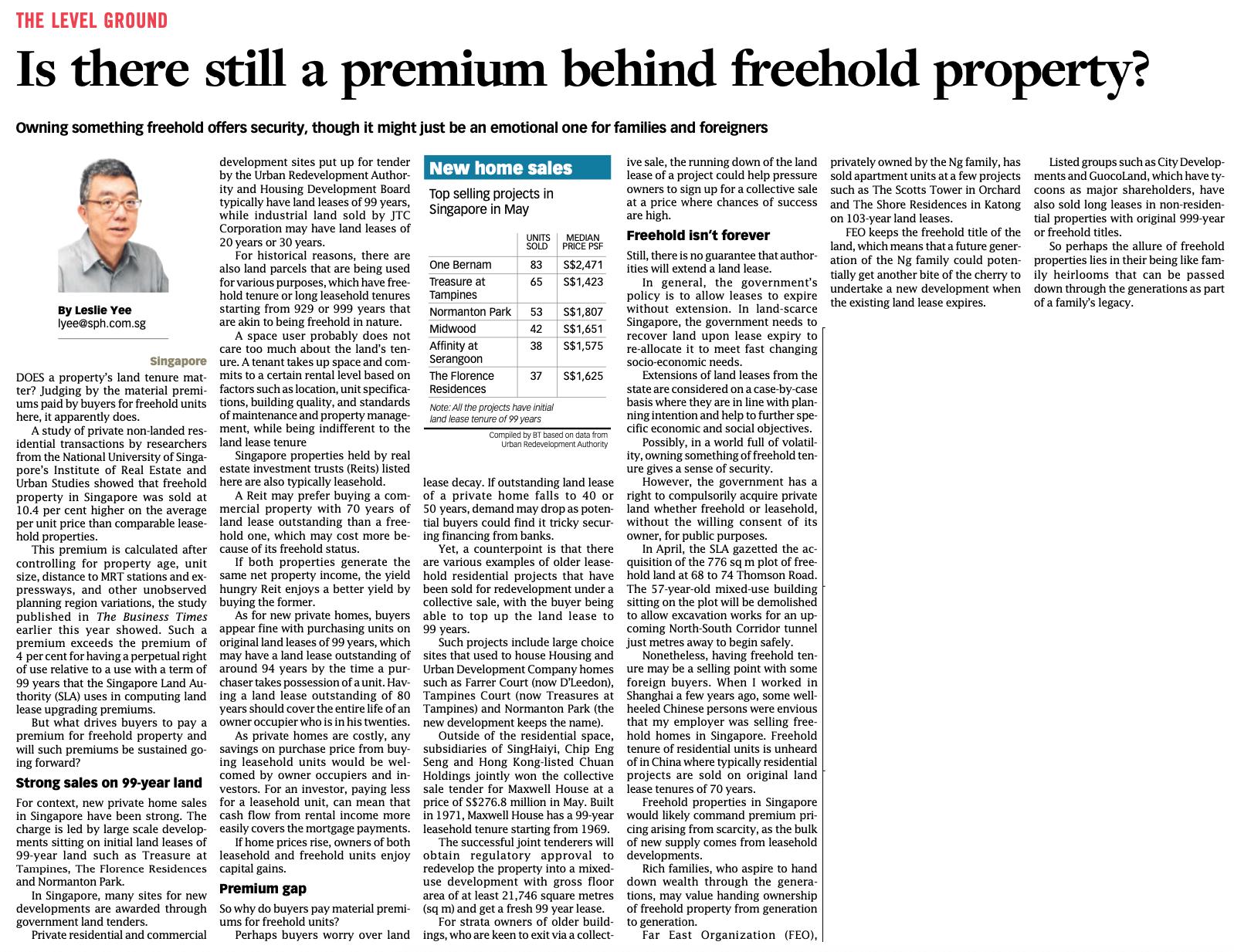 Freehold Property Analysis Singapore